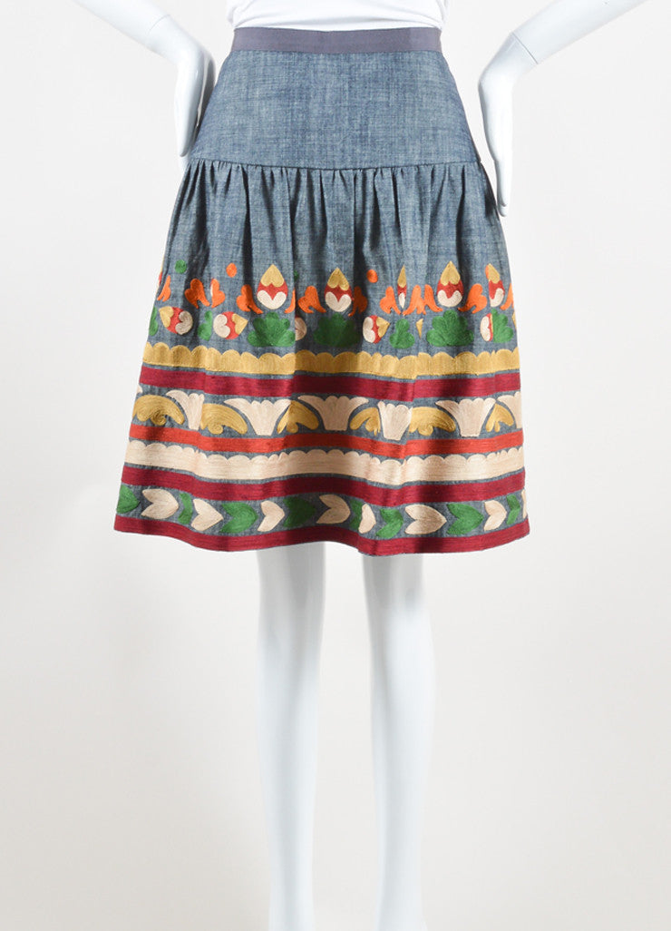 Oscar de la Renta Denim Blue and Multicolor Cotton and Silk Embroidered Skirt Frontview