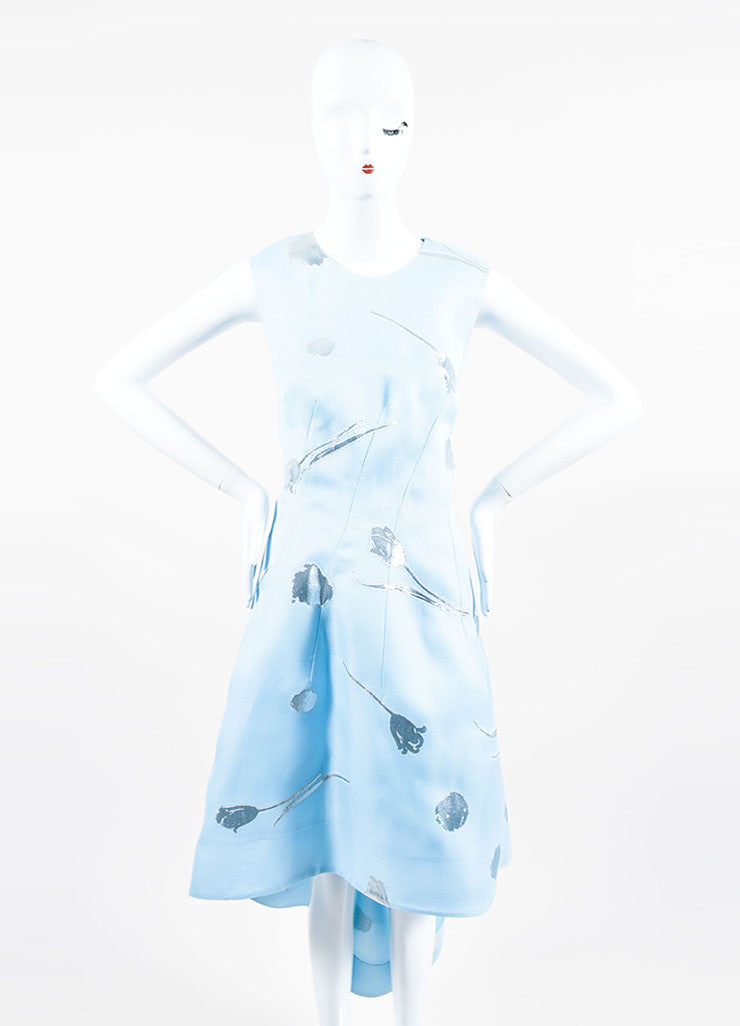 Baby Blue and Silver Oscar de la Renta Silk Floral Sleeveless Gown Frontview