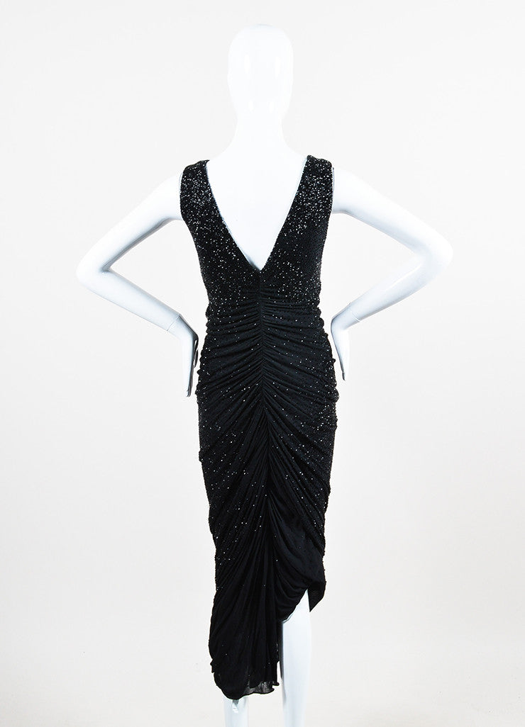 Ralph Lauren Collection Black Beaded Ruched Sleeveless Gown Backview