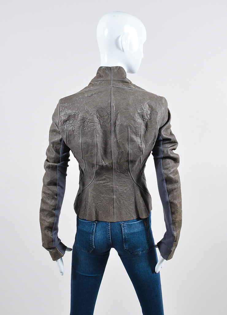 Grey Rick Owens Distressed Leather Wool Paneled Jacket Backview