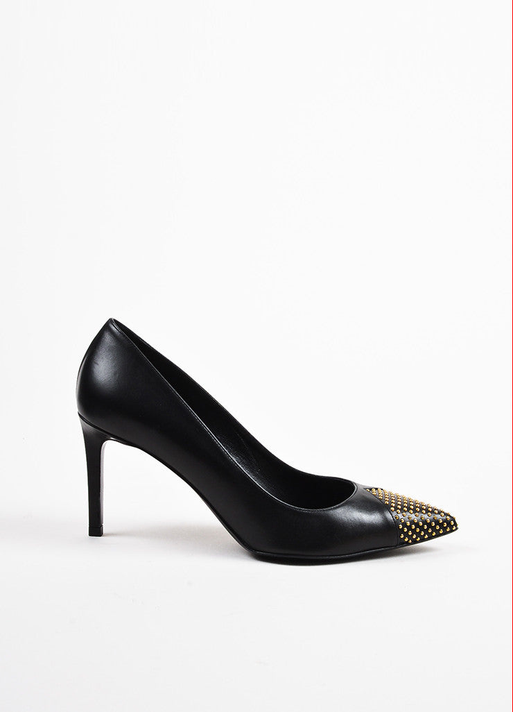 Black and Gold Toned Saint Laurent Leather Tiny Stud Pointed Pumps Sideview