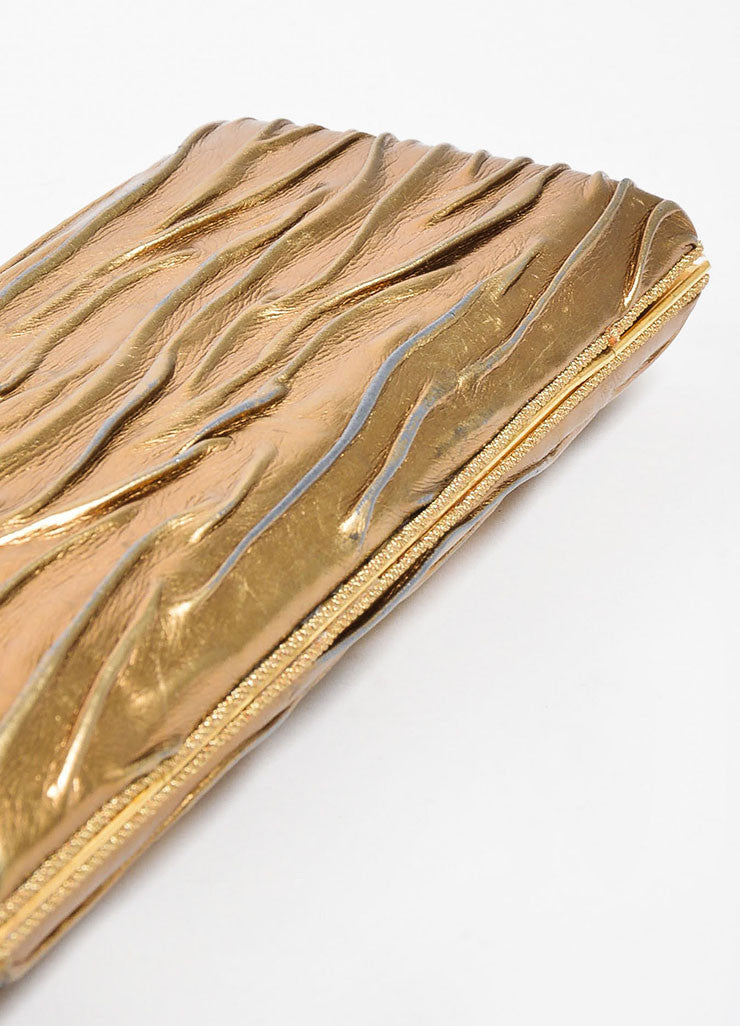 VBH Metallic Gold Leather Rectangular Compact Clutch Bag Bottom View