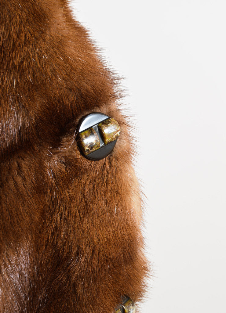 Nina Ricci Brown Hooded Buttoned Fur Coat Detail