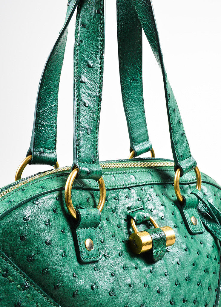 "Green and Gold Toned Yves Saint Laurent Ostrich Limited Edition ""Muse"" Bag Detail 2"