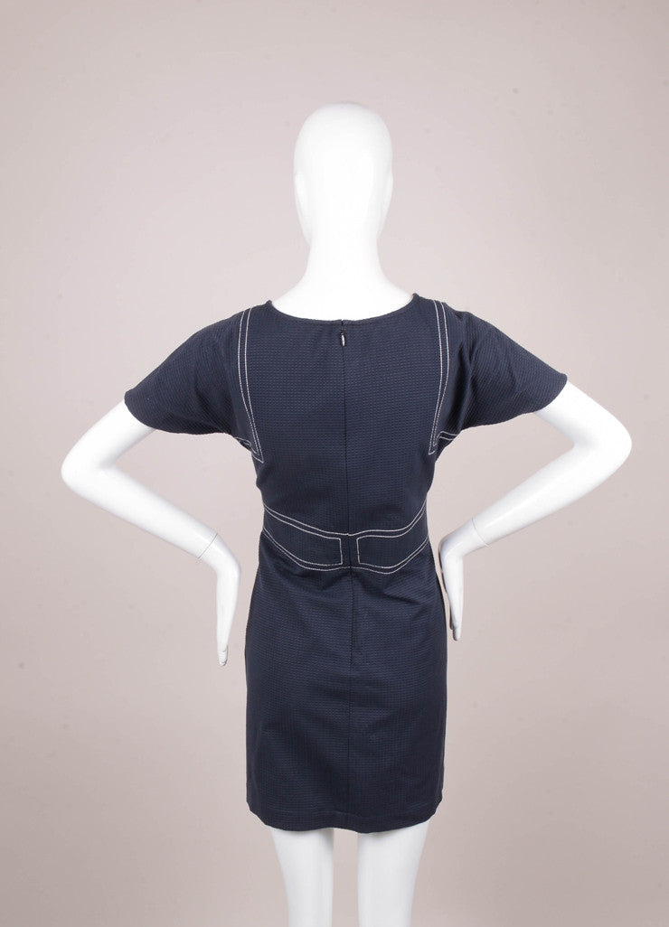 Blue Textured Short Sleeve Cotton Dress