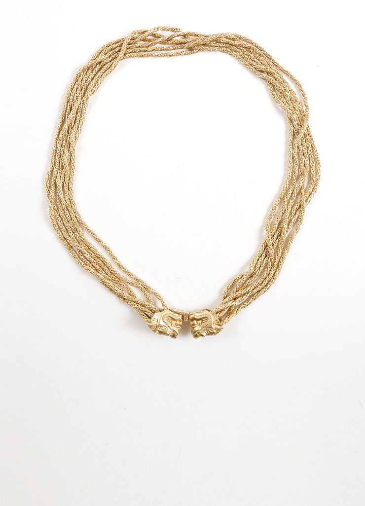 Kenneth Jay Lane Gold Toned Twisted Six Strand Double Dragon Statement Necklace Frontview