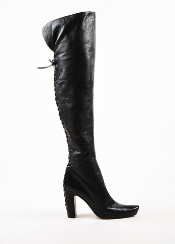 Alaia Black Leather Lace Up Over The Knee Block Heel Boots Sideview