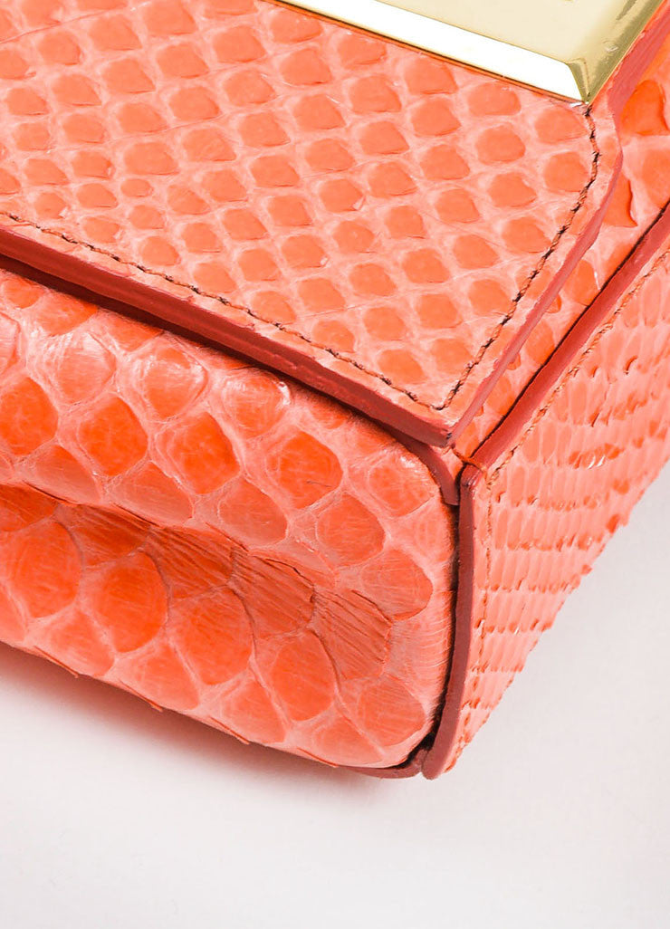 Andrew Gn Coral Python Skin Turn Lock Mini Brief Crossbody Bag Detail