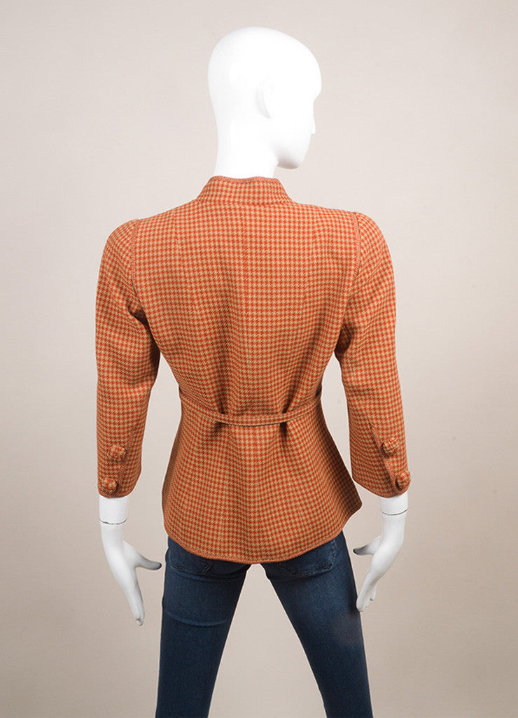 Andrew Gn New With Tags Tan and Red Wool Houndstooth Belted Crop Sleeve Jacket Backview