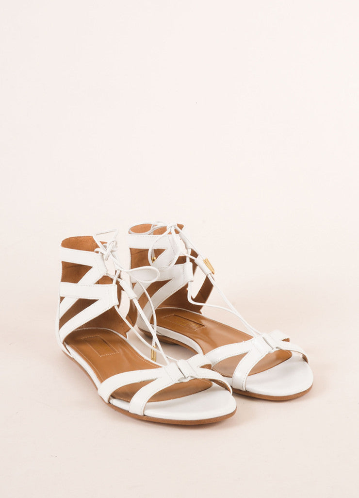 "Aquazzura New In Box White Leather Lace Up ""Beverly Hills"" Flat Sandals Frontview"