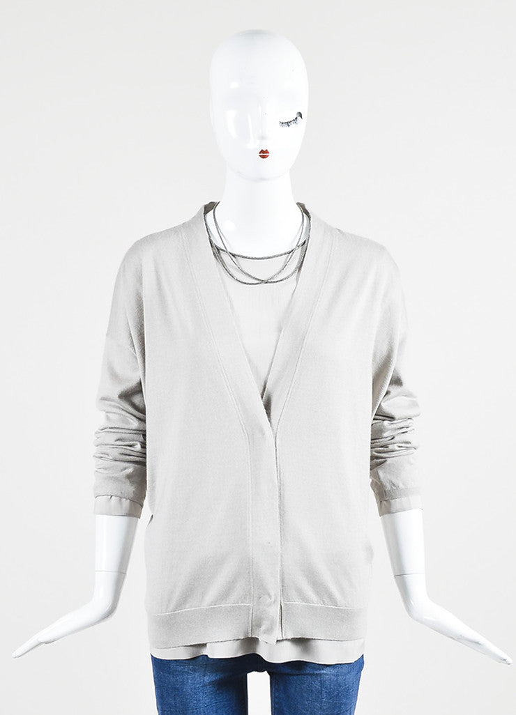 Grey Brunello Cucinelli Cashmere and Silk Beaded Neck Sweater Frontview
