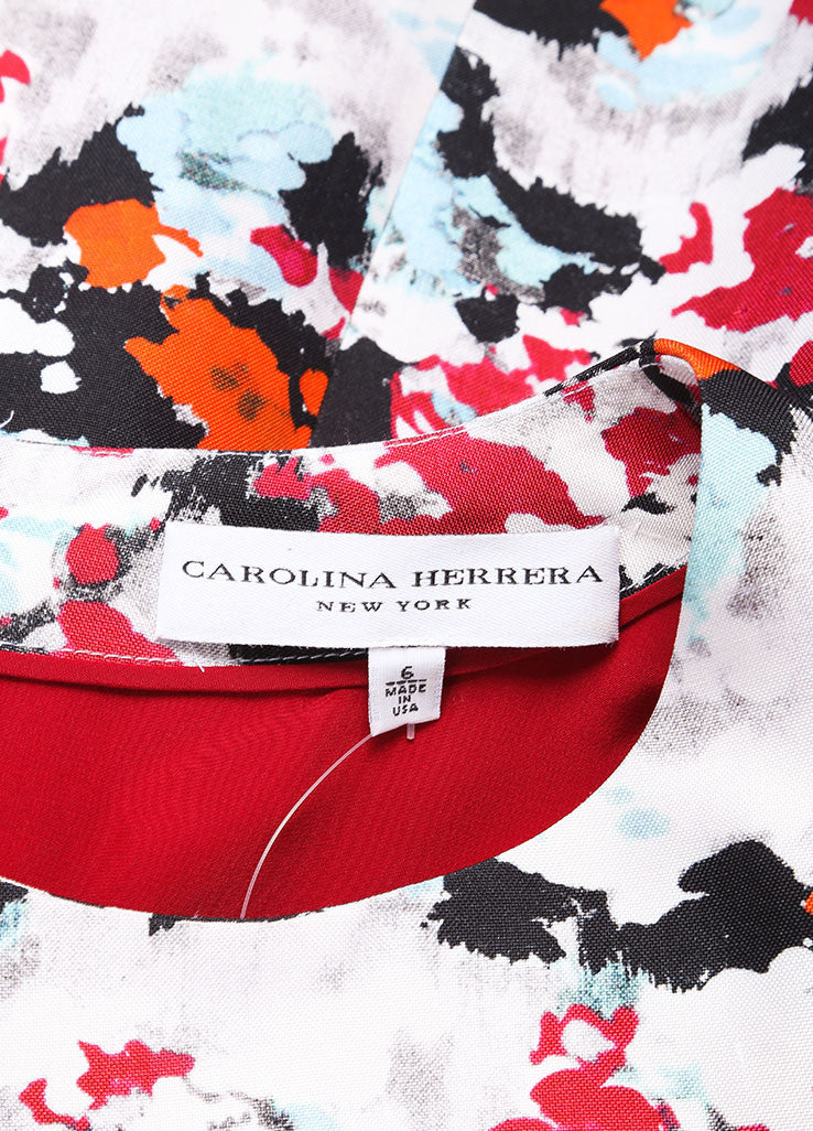 Carolina Herrera Grey, Red, and Multicolor Abstract Floral Print A-Line Dress Brand