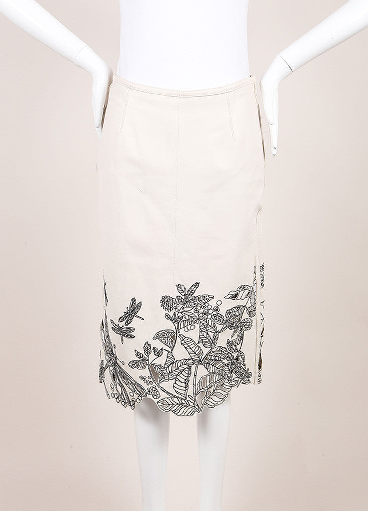 Catherine Malandrino Beige and Black Leather Embroidered Laser Cut Pencil Skirt Frontview