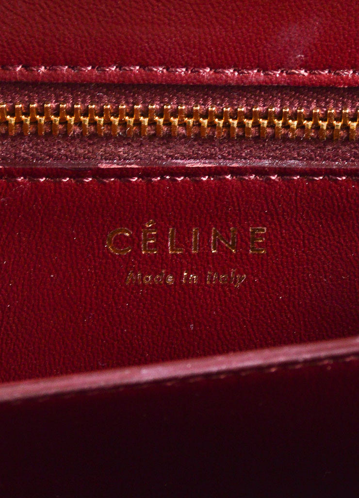 Celine Dark Red Snakeskin Leather Small Flap Box Bag Brand