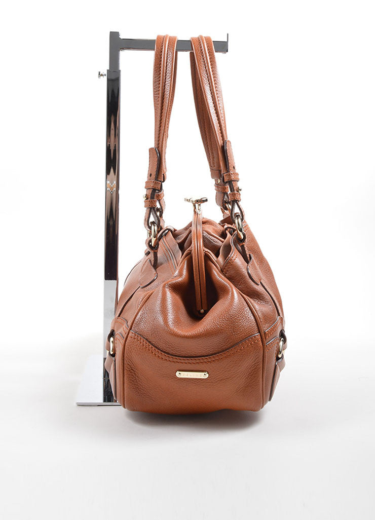 Celine Caramel Pebbled Leather Satchel Handbag Side