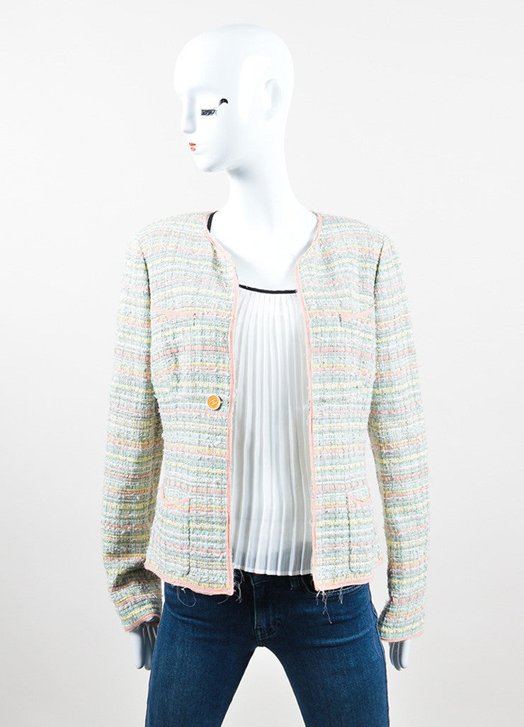 "Multicolor Pastel Silk Blend Ribbon Chanel ""CC"" Jacket Frontview"
