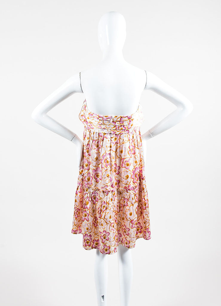 Pink & Yellow Chanel Silk Floral Print Strapless Dress Back