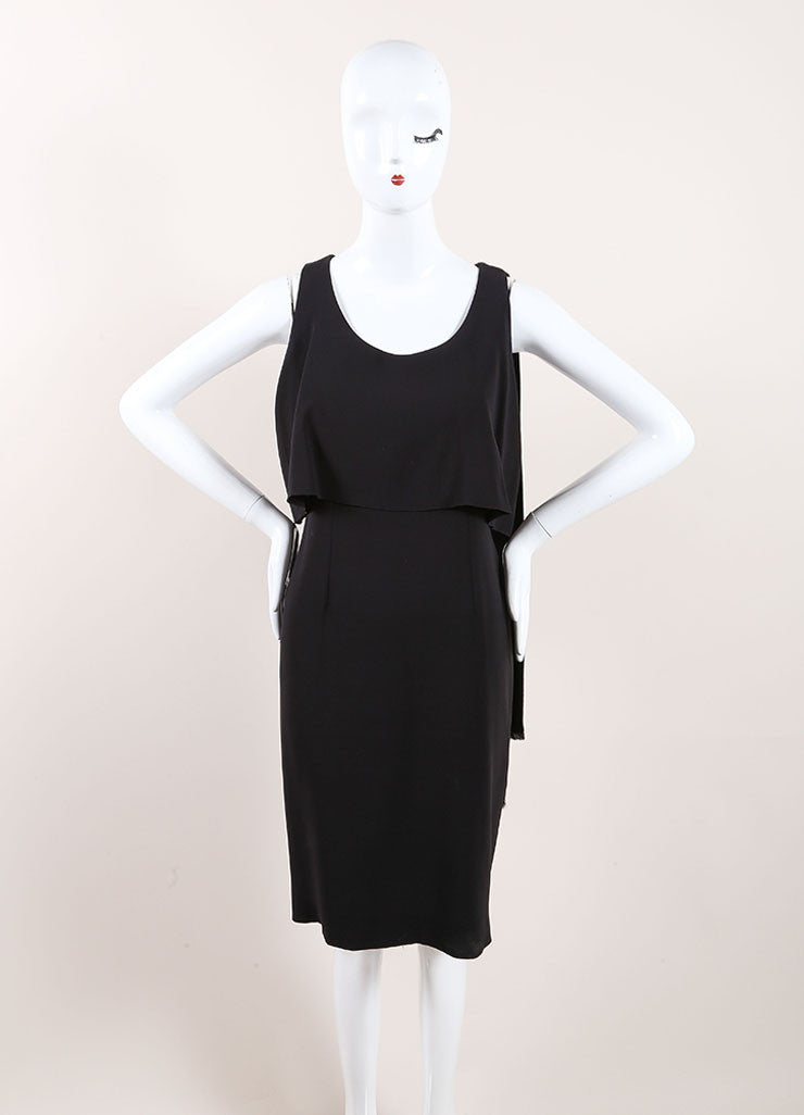 Chanel Black Silk Tiered Sleeveless Drape Dress Frontview