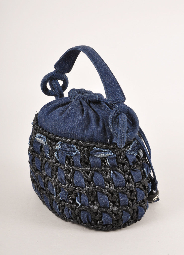 Chanel Dark Blue Denim and Raffia Basketwoven Small Drawstring Bucket Handbag Sideview