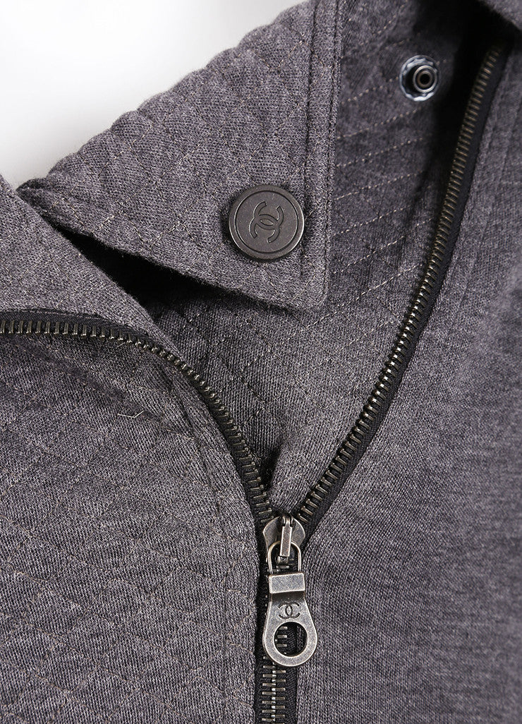 Chanel Grey Wool Moto Zip Up Jacket Detail