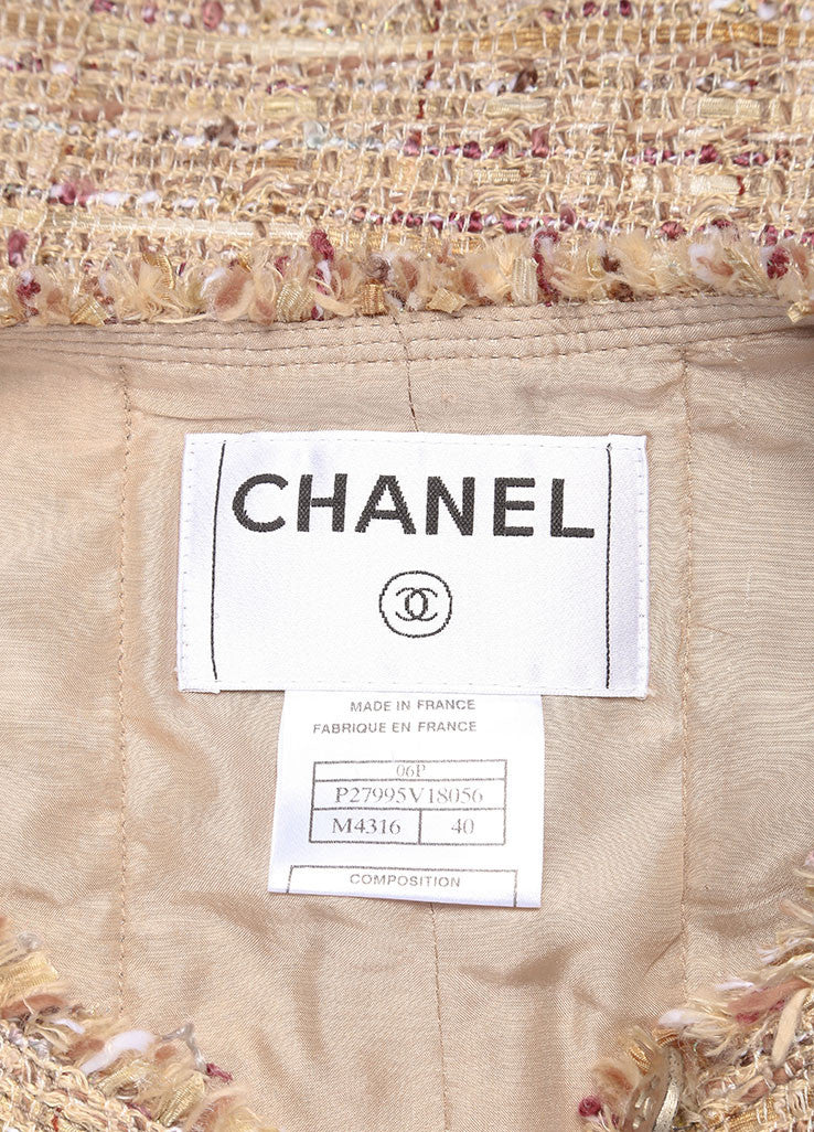 Chanel Tan and Multicolor Boucle Tweed Fringe Trim Skirt Suit Brand