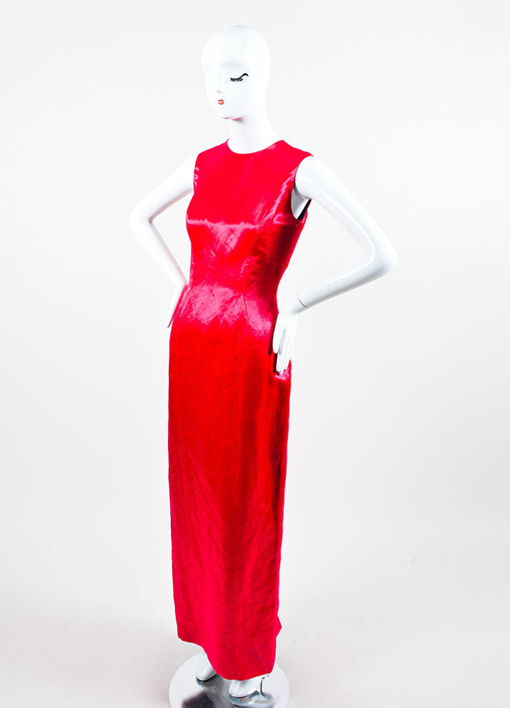 Fuchsia Christian Dior Fitted Floor Length Shiny Satin Sleeveless Gown Sideview
