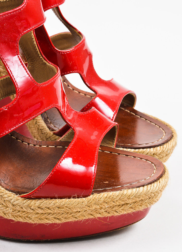 "Christian Louboutin Red Patent Leather ""Salamanca 120"" Espadrille Wedges Detail"