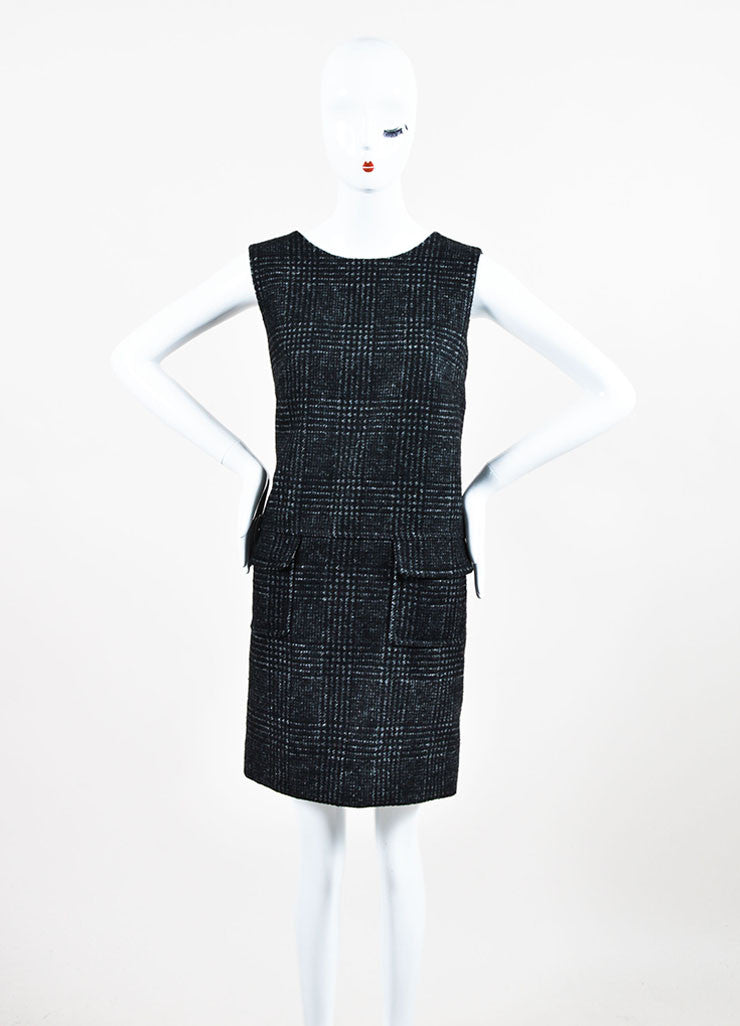 Dolce & Gabbana Grey Wool Sleeveless Jewel Neck Shift Dress Frontview