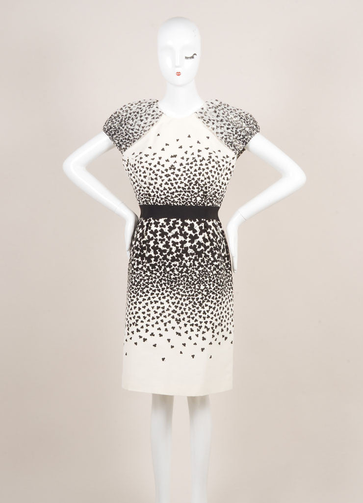 Giambattista Valli NWT Black White Clover Print Cap Sleeve Grosgrain Dress SZ L Frontview