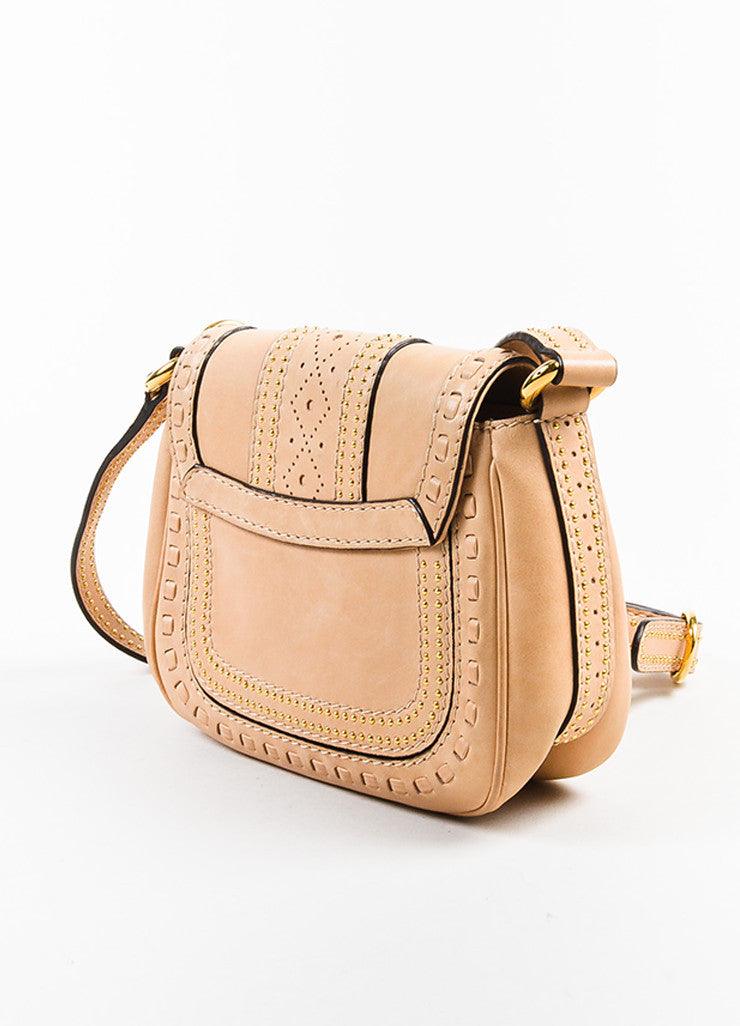 "Gucci Beige Leather Gold Toned Stud Tassel ""Small Snaffle Bit"" Bag Sideview"