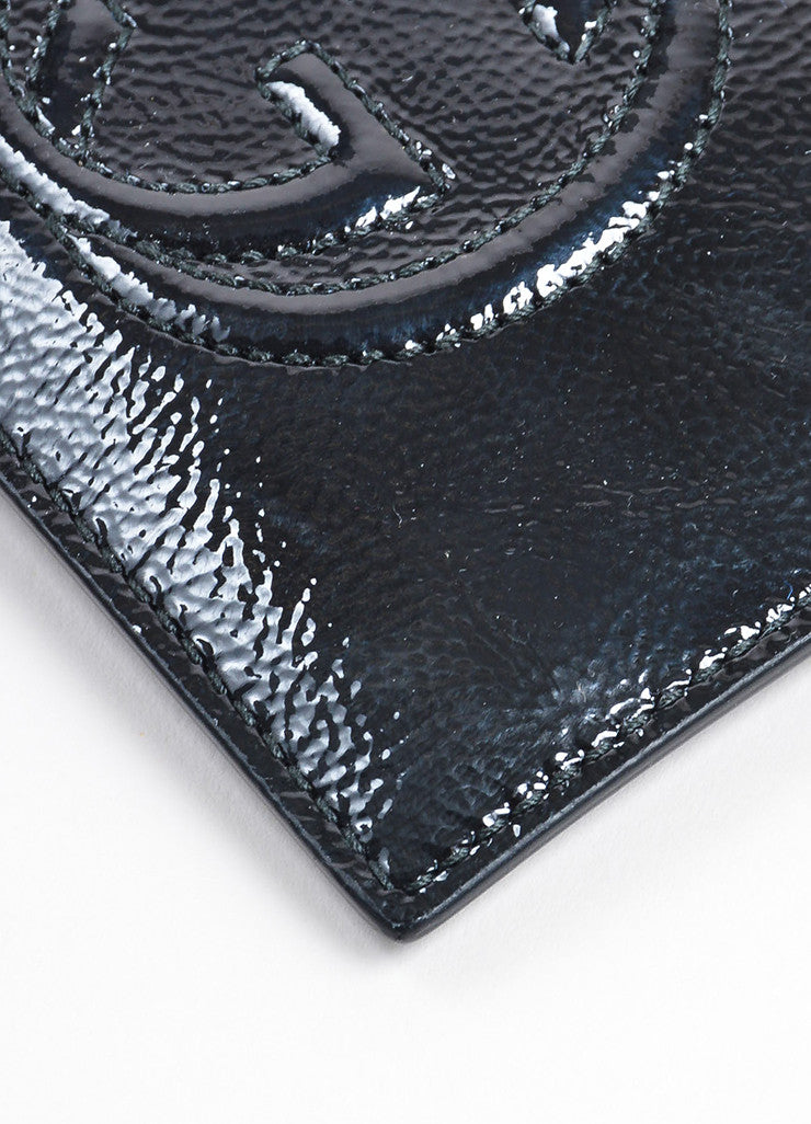 "Gucci ""Soho"" Black Patent Leather Textured Card Case Detail"