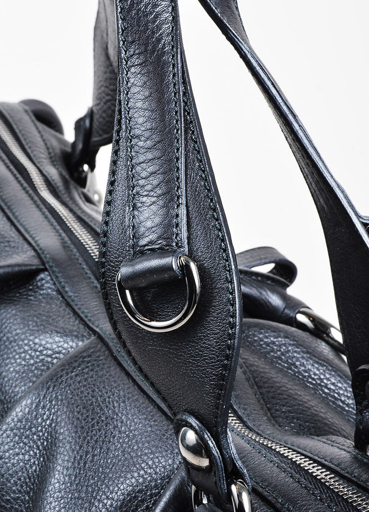 "Black Leather and Silver Toned Chain Gucci ""Icon Bit Large Boston"" Duffle Purse Bag Detail 2"