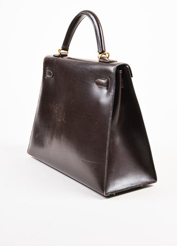 "Hermes Chocolate Brown Gold Toned Box Calf Leather 32cm Sellier ""Kelly"" Handbag Sideview"