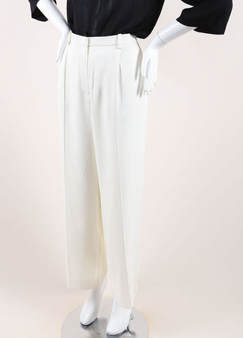 Hermes Cream Silky Pleated Wide Leg Dress Pants Sideview