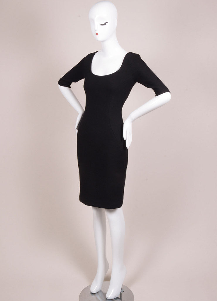 Holmes & Yang New With Tags Black Wool Half Sleeve Scoop Neck Sheath Dress Sideview