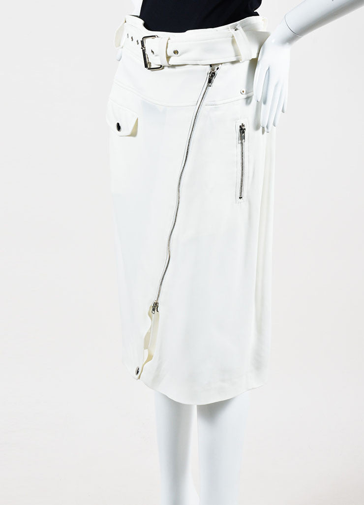 White Jean Paul Gaultier Cargo Moto Zip Pencil Skirt Side