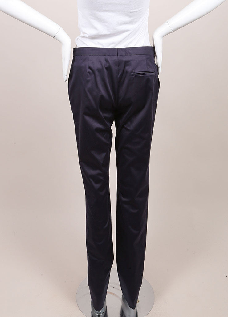 "Jil Sander New With Tags Navy Sateen Cotton Straight Leg ""Daniel"" Trousers  Backview"
