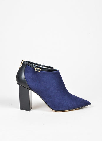 Jimmy Choo Navy and Black Suede Leather Ankle Strap Back Zip Booties Sideview