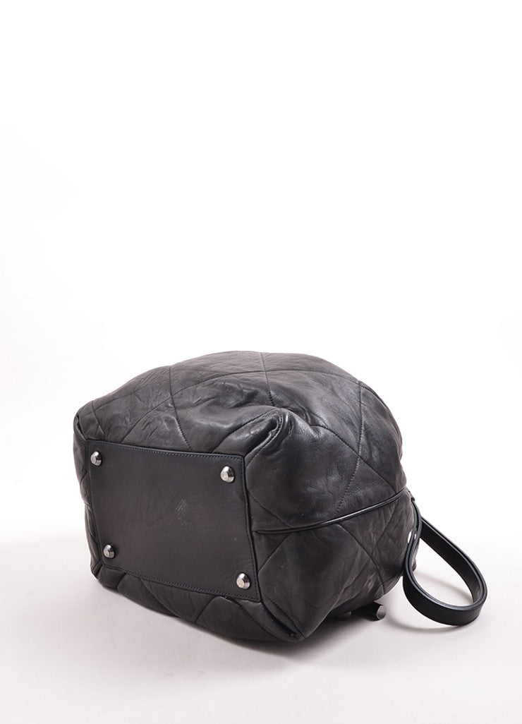 "Lanvin Black Quilted Leather ""Amalia"" Bucket Bag Bottom"