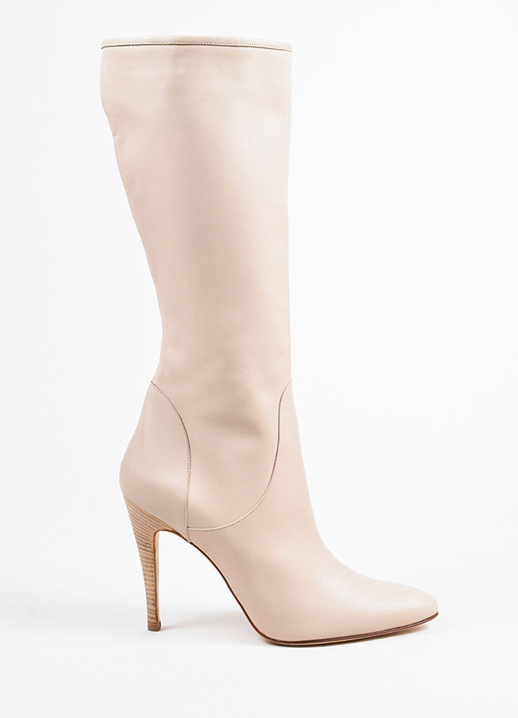 Manolo Blahnik Beige Leather Calf High High Heel Zipped Boots Sideview
