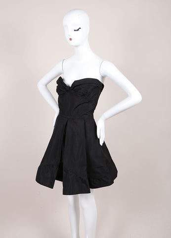Miu Miu Black Grosgrain Structured Pleated Stapless Corset Flare Dress Sideview