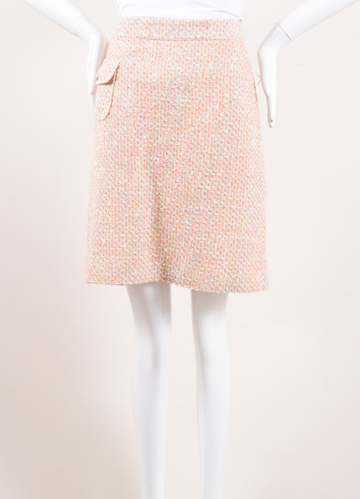 Monique Lhuillier Pink and Cream Wool and Cotton Tweed Skirt Frontview