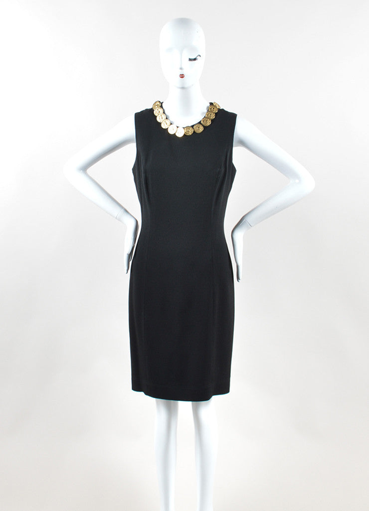 Moschino Cheap and Chic Black Crepe Coin Medallion Sleeveless Sheath Dress Frontview