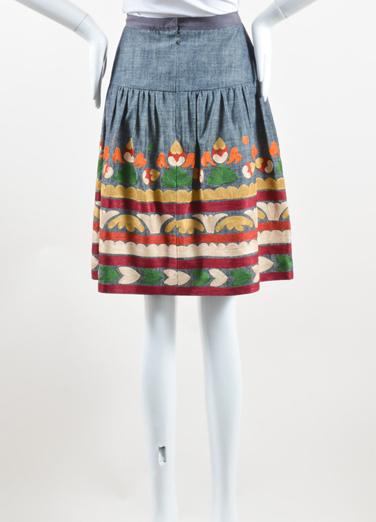 Oscar de la Renta Denim Blue and Multicolor Cotton and Silk Embroidered Skirt Backview