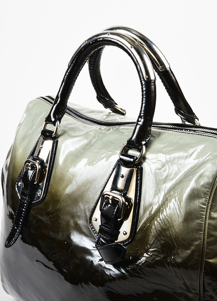 "Prada Olive and Black Patent Leather Ombre ""Sfumato"" Top Handle Satchel Bag Detail 2"