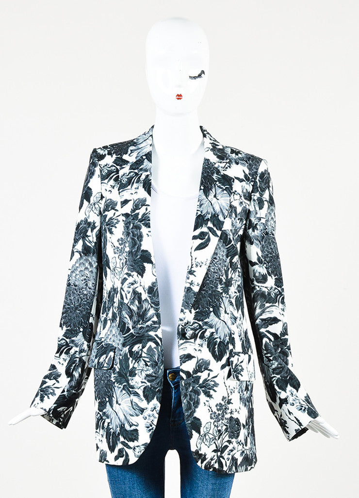 Stella McCartney White, Black, and Grey Jersey Floral Blazer Jacket Frontview