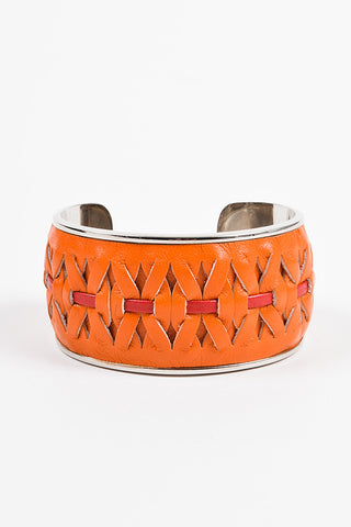 Tod's Orange, Red, and Silver Toned Woven Leather Trim Metal Bangle Bracelet Frontview
