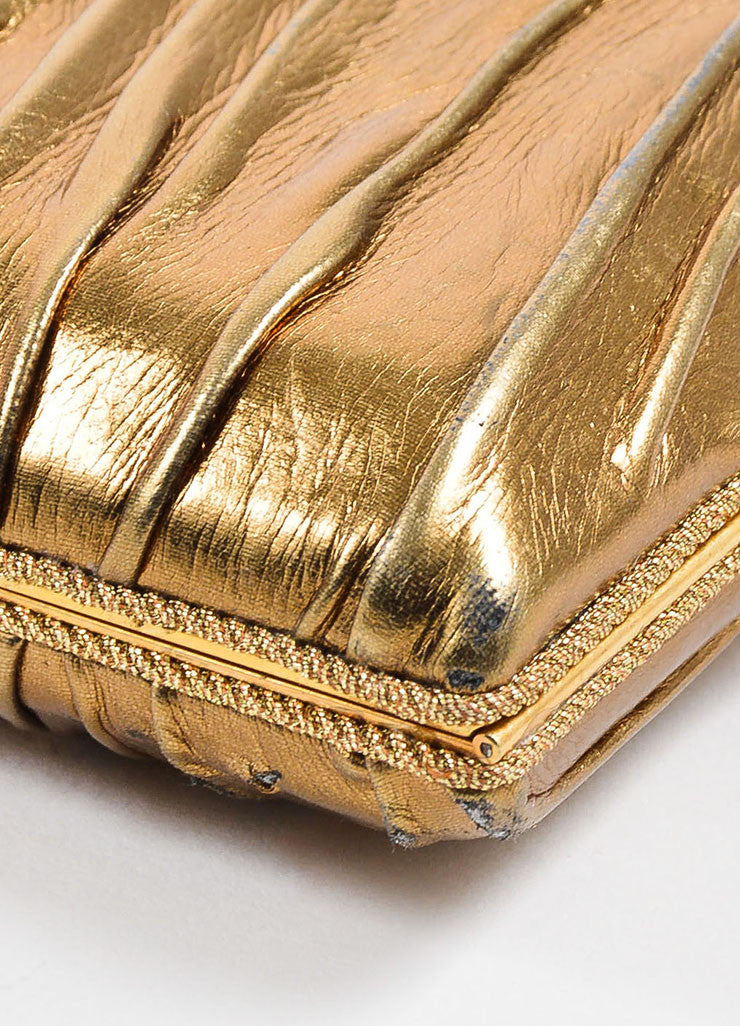 VBH Metallic Gold Leather Rectangular Compact Clutch Bag Detail
