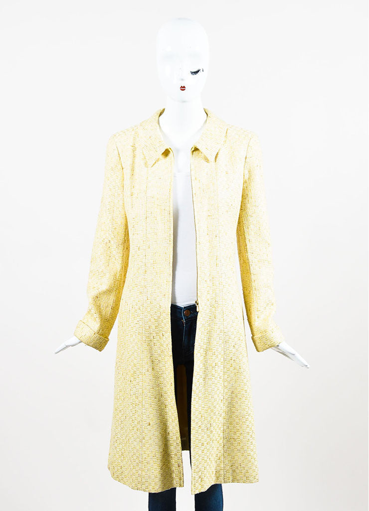 Chanel Yellow and White Tweed Zipped Front Split Long Structured Coat Frontview