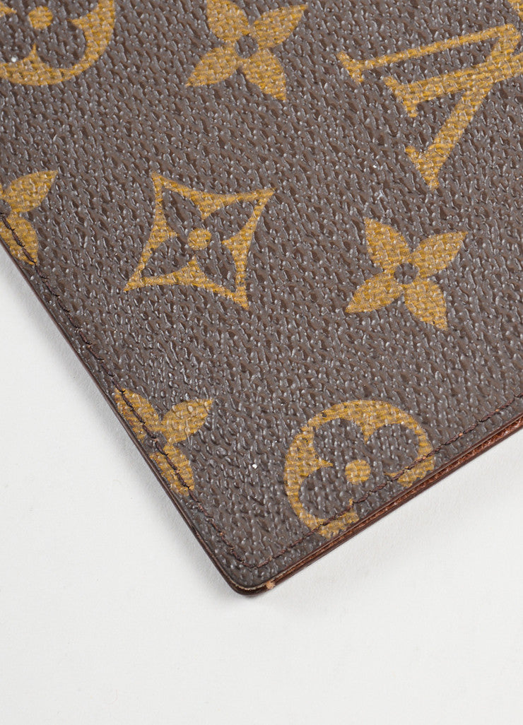 Brown Louis Vuitton Monogram Canvas Checkbook Wallet Detail